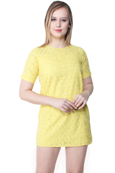 Ameya Embroidered Cotton Yellow Shift Dress