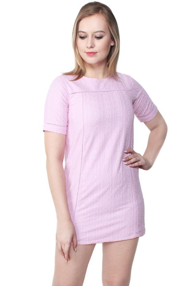 Anora Embroidered Cotton Shift Dress