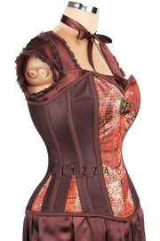Mesh with Steampunk Print Satin Corset (ELC-301)