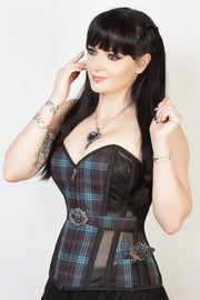 Mesh with Plaid Print Custom Made Steel Boned Corset (ELC-301)