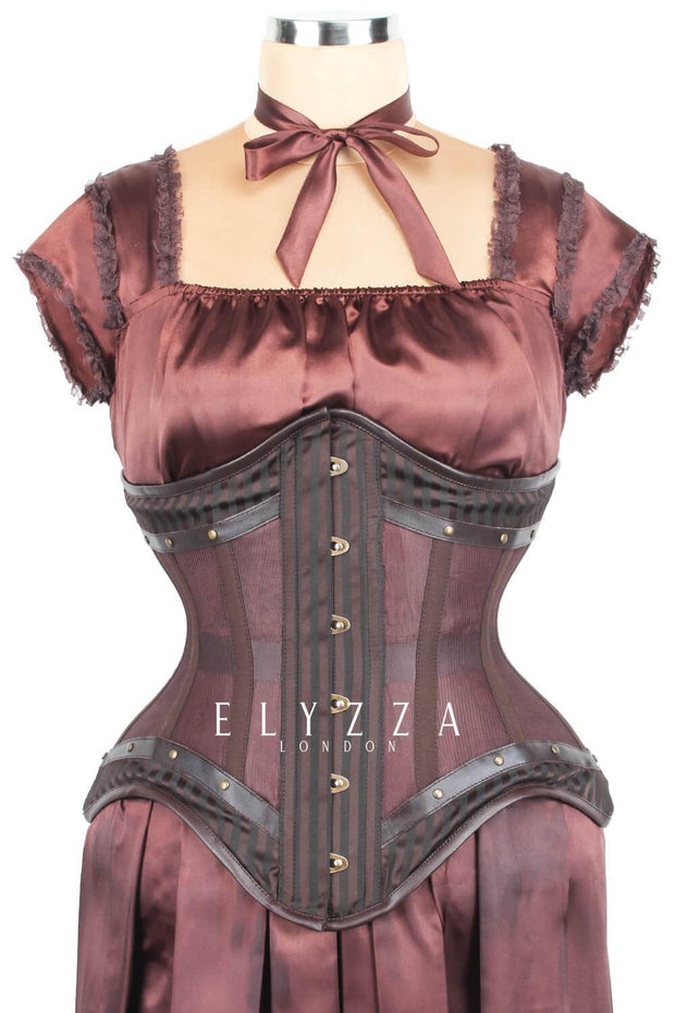 Mesh with Brocade Steampunk Corset  (501)