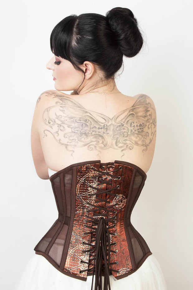 Mesh with Steampunk Print Custom Made Satin Corset (ELC-501)