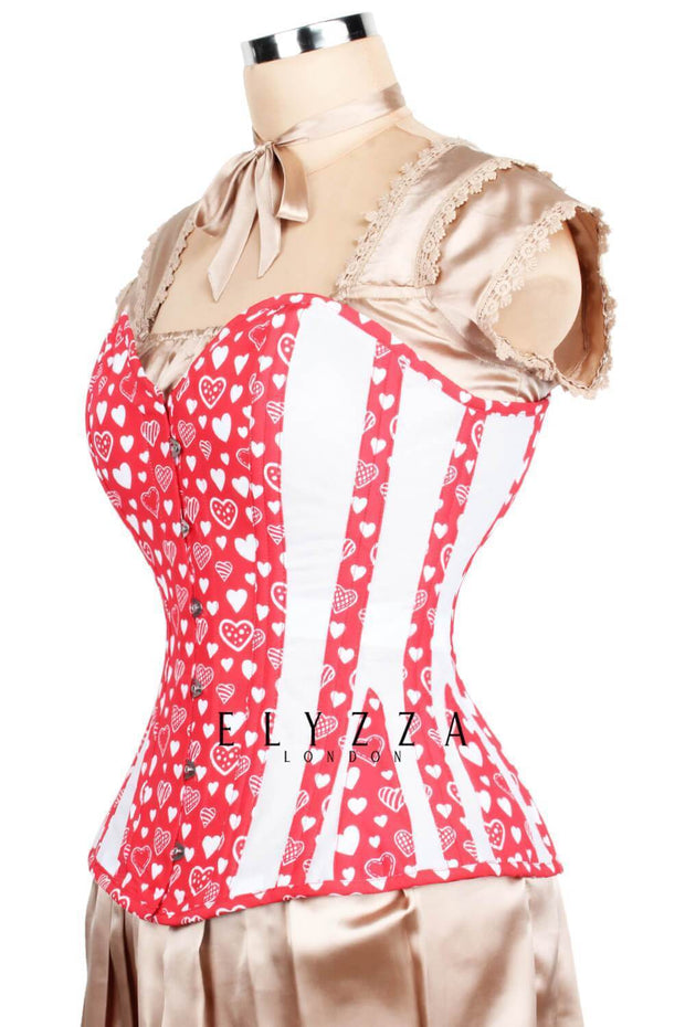 Red Sweet Heart Mesh Corset (ELC-301)