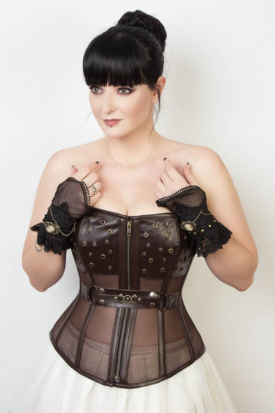 Waist Reducing Custom Made Gothic Mesh Corset (ELC-401)