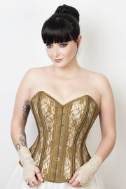 Mesh with Lace Overlay Custom Made Waist Training Corset (ELC-701)