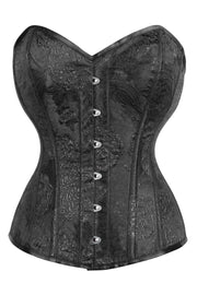 Black Brocade Custom Made Waist Reducing Corset (ELC-701)
