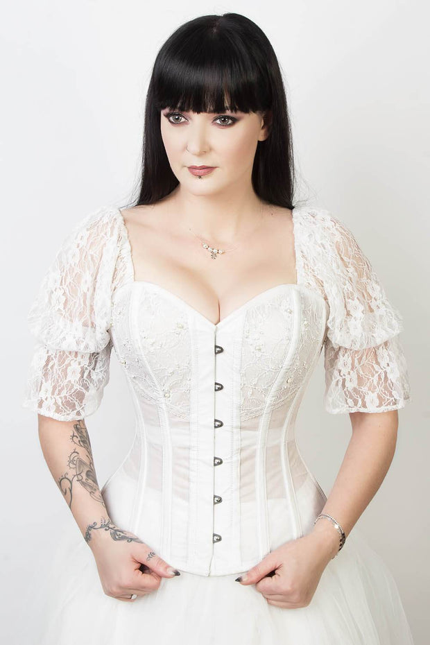 White Mesh with Lace Overlay Bridal Corset (ELC-701)