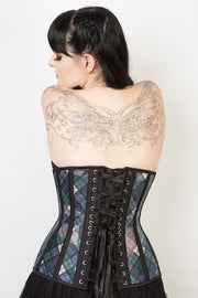 Longline Custom Made Plaid Print Mesh Underbust Corset