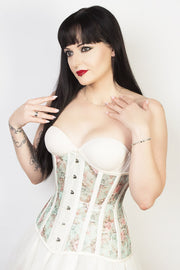 Victorian Custom Made Longline Floral Print Mesh Corset