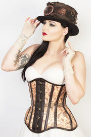 Waist Reducing Steampunk Print Mesh Corset (ELC-102)
