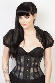 Printed Black Mesh Custom Made Underbust Corset