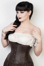 Steel Boned Custom Made Brown Leather Waist Trainer Corset