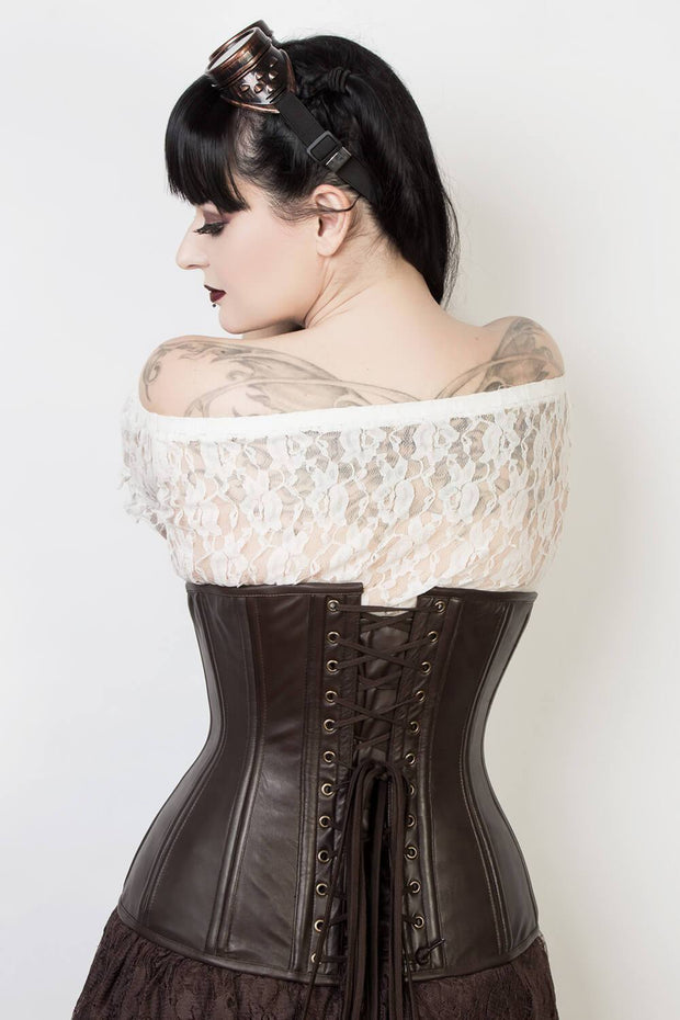 Waist Trainer Custom Made Brown Leather Longline Corset