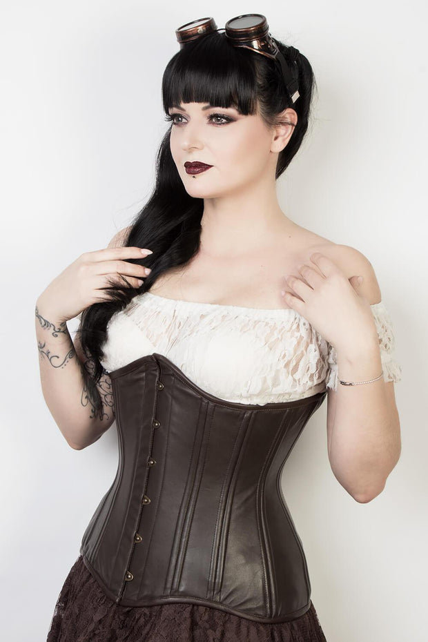 Waist Trainer Brown Leather Longline Corset