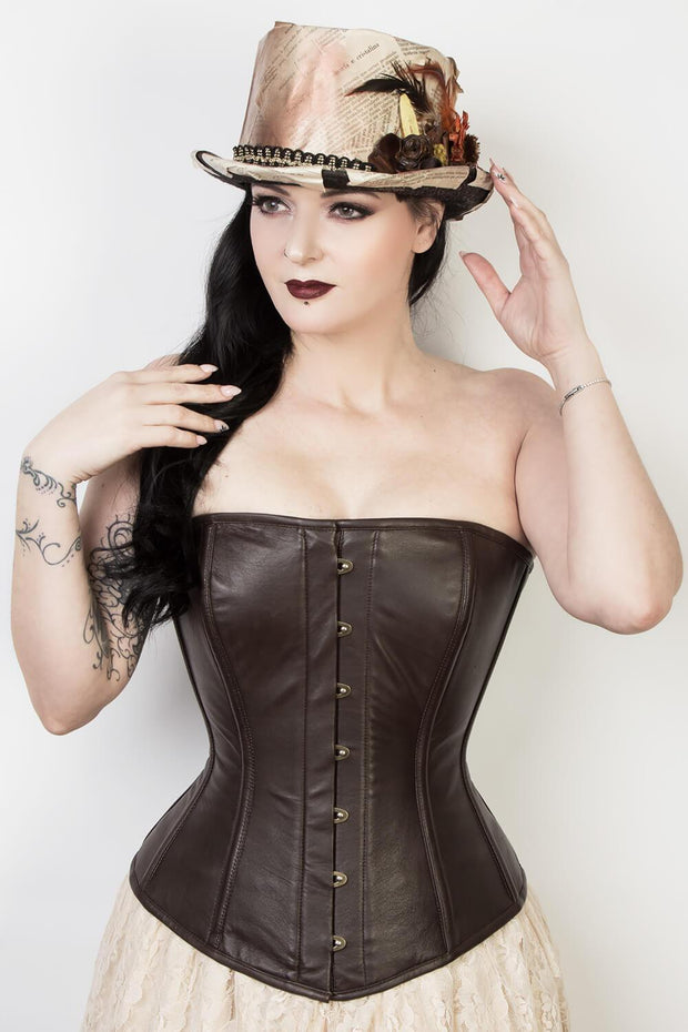 Brown Leather Waist Reducing Corset (ELC-401)