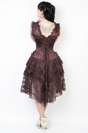 Steampunk Custom Made Printed Brown Corset Dress