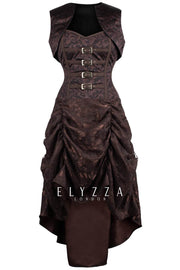Steampunk Printed Corset Dress with Shrug