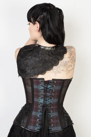 Plaid Print Mesh Overbust Corset with Shrug