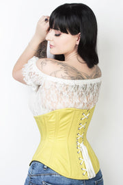 Cotton Steel Custom Made Boned Underbust Corset (ELC-601)