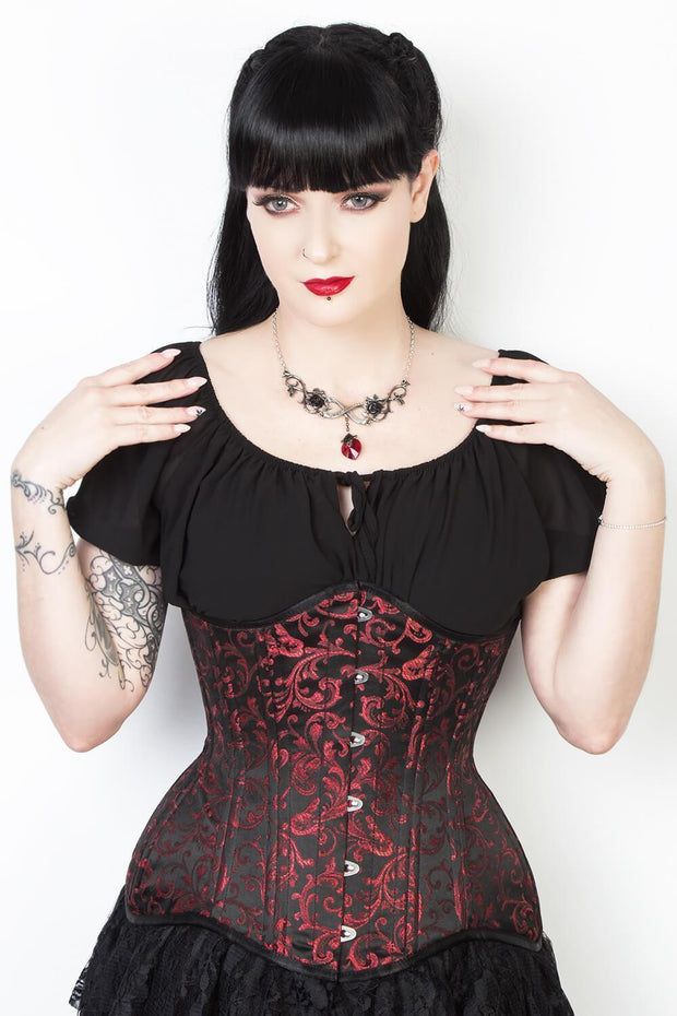 Maroon Brocade Custom Made Waist Training Corset (ELC-102)