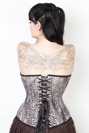 Longline Custom Made Overbust Feather Print Corset (ELC-401)
