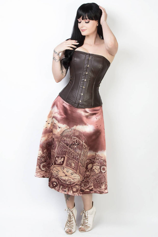 Printed Steampunk Skirt with Detachable Belt