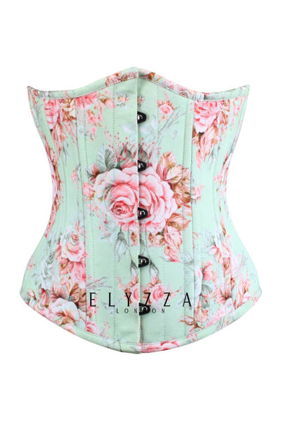 Blossom Custom Made Waist Training Underbust Rose Print Cotton Corset