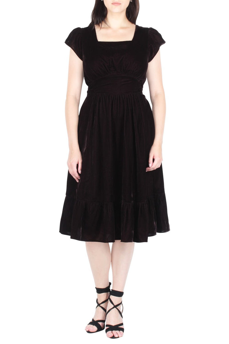 Yarrow Flutter Sleeve Velvet Dress