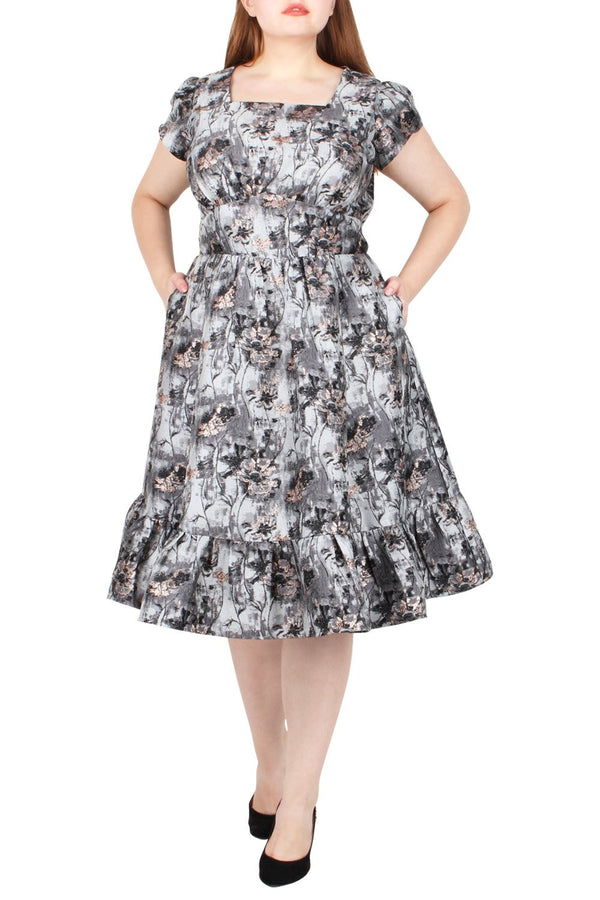 Oberon Ruffle Jacquard Dress