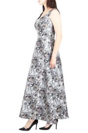 Jayleen Jacquard Flare Maxi Dress