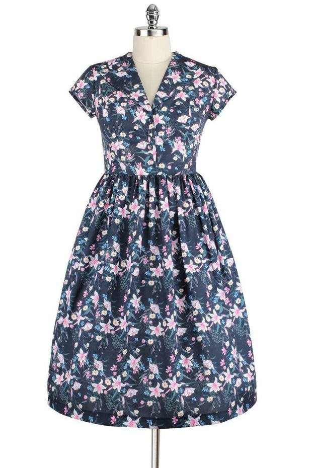 Elyzza London 1950s Style Floral Print Flare Dress