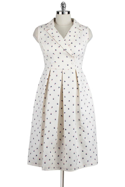 Elyzza London 1950s Surplice Neck Pleated Flare Dress