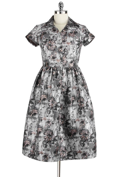 Elyzza London 1950s Jacquard Collar Gathered Flare Dress