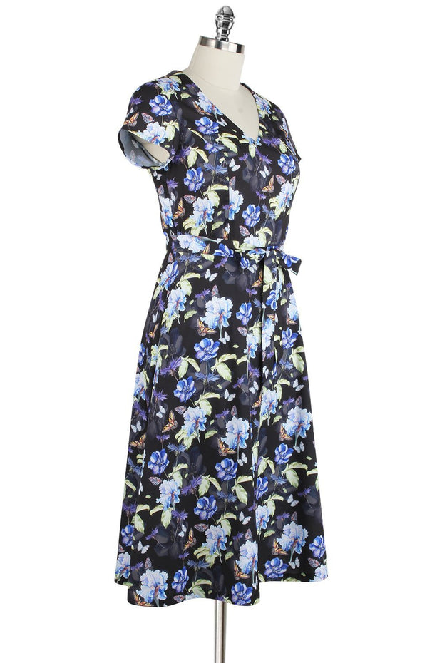 Elyzza London Floral Print Flare Dress with Belt