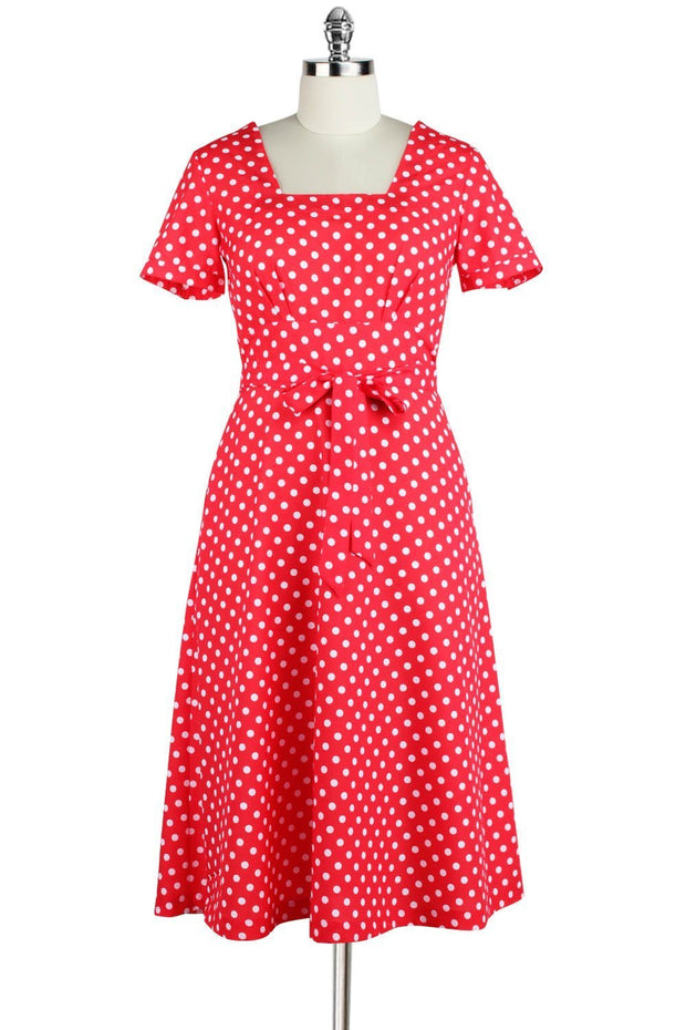 Elyzza London 1950s Style Polka Print Square Neck Dress