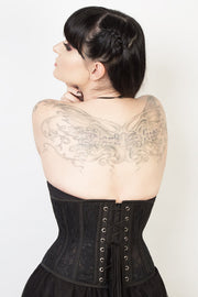 Underbust Custom Made Black Mesh with Lace Waspie Corset