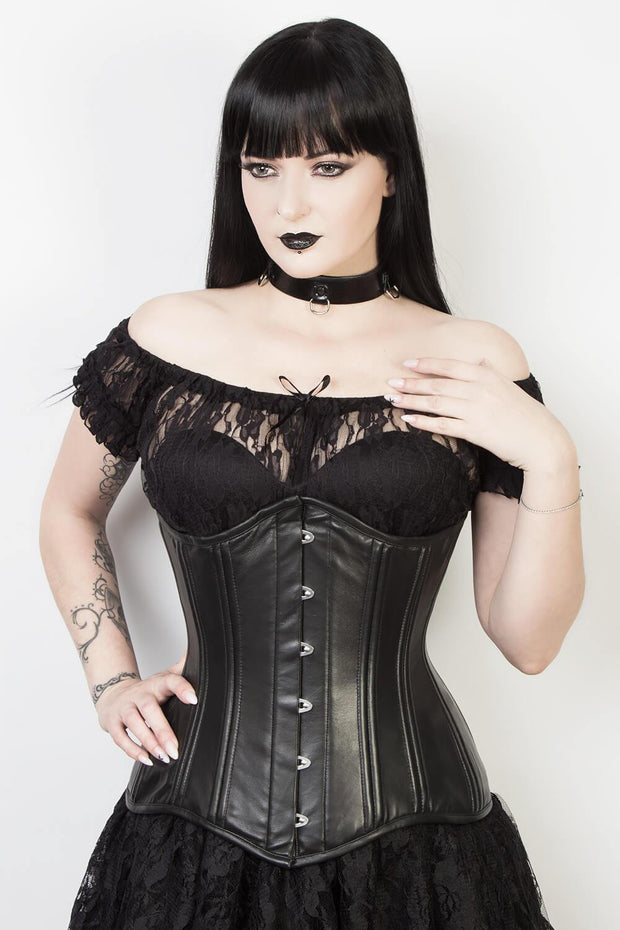 Underbust Black Leather Longline Corset