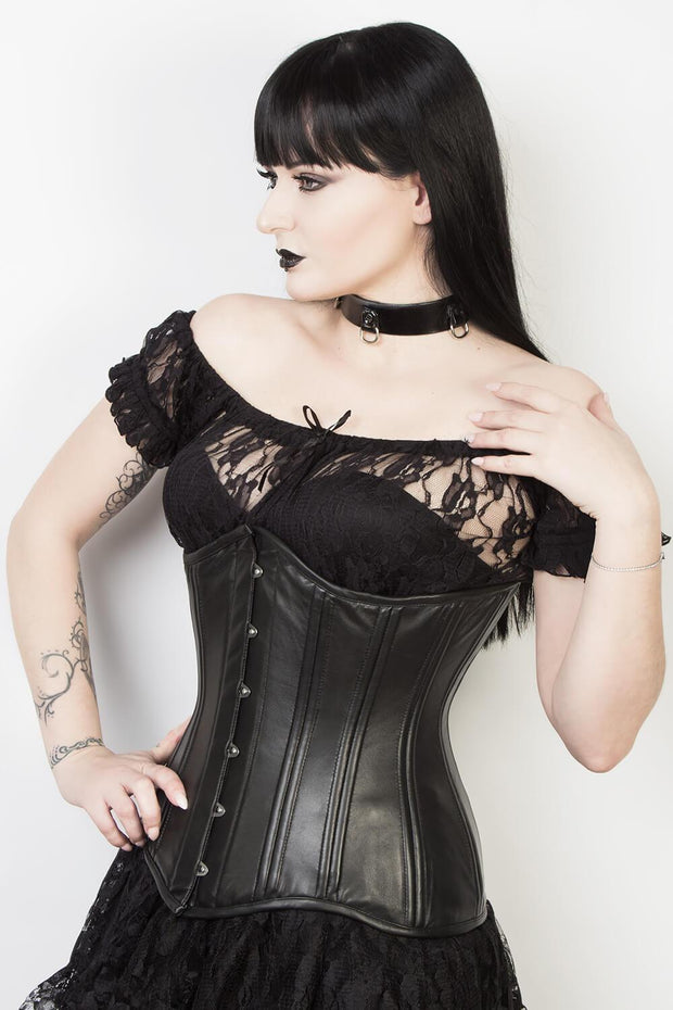 Plus Size Underbust Black Leather Longline Corset