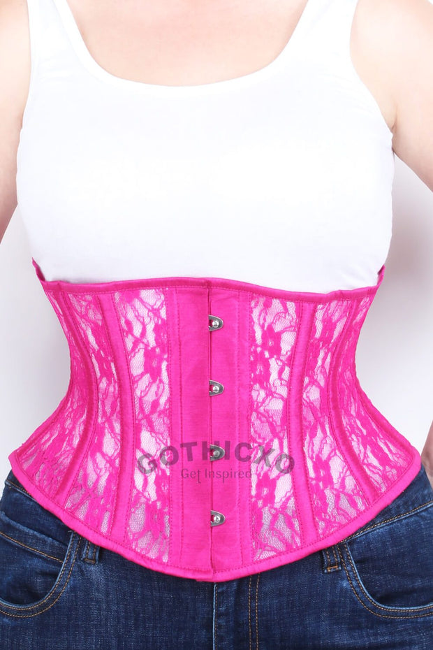 Underbust Fuchsia Mesh with Lace Waspie Corset