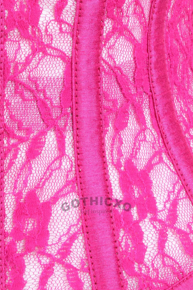Plus Size Underbust Fuchsia Mesh with Lace Waspie Corset