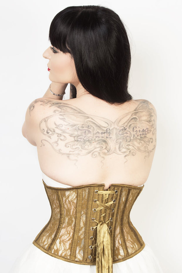 Waist Trainer Custom Made Gold Mesh with Lace Waspie Corset