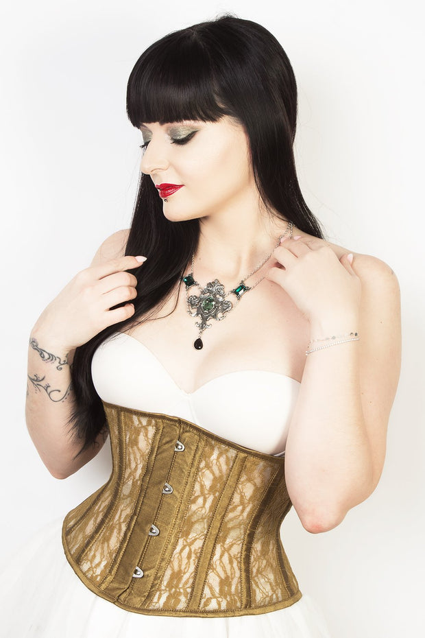 Waist Trainer Gold Mesh with Lace Waspie Corset
