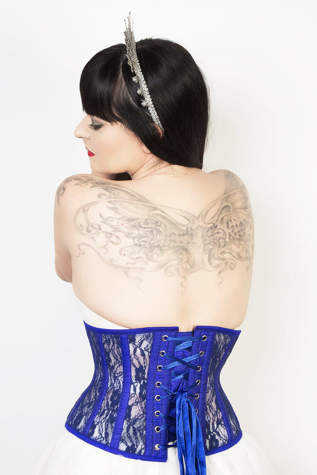 Underbust Plus Size Blue Mesh with Lace Waspie Corset
