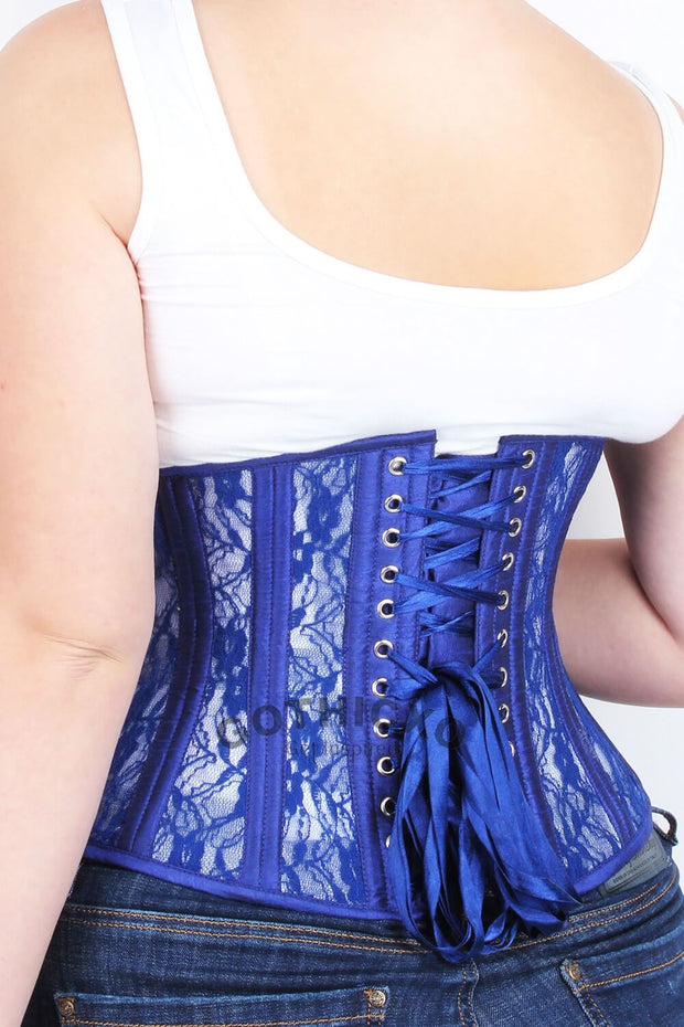 Waist Trainer Blue Mesh with Lace Standard Corset