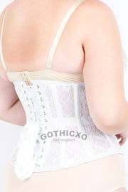 Underbust White Mesh with Lace Standard Corset