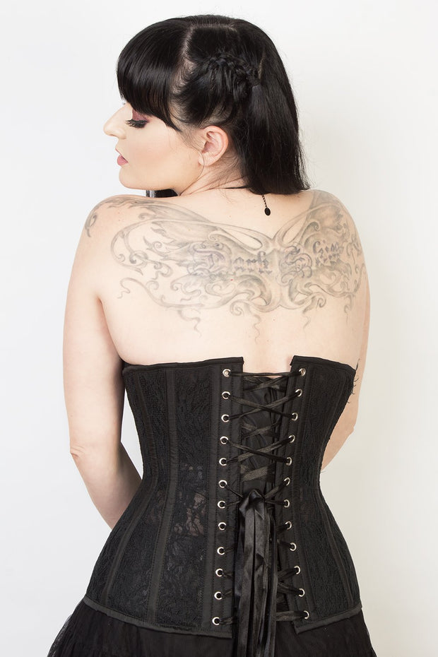 Yarrow Underbust Black Mesh with Lace Long Corset