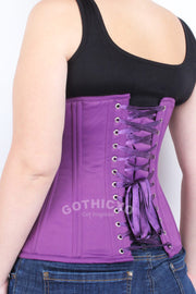 Underbust Plus Size Purple Taffeta Long Corset