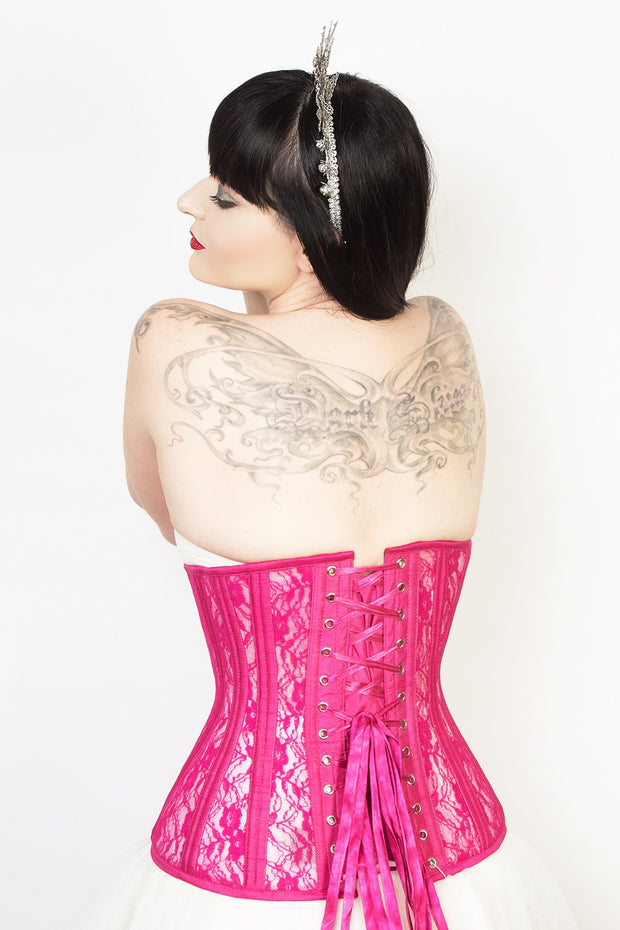 Plus Size Fuchsia Mesh with Lace Long Underbust Corset