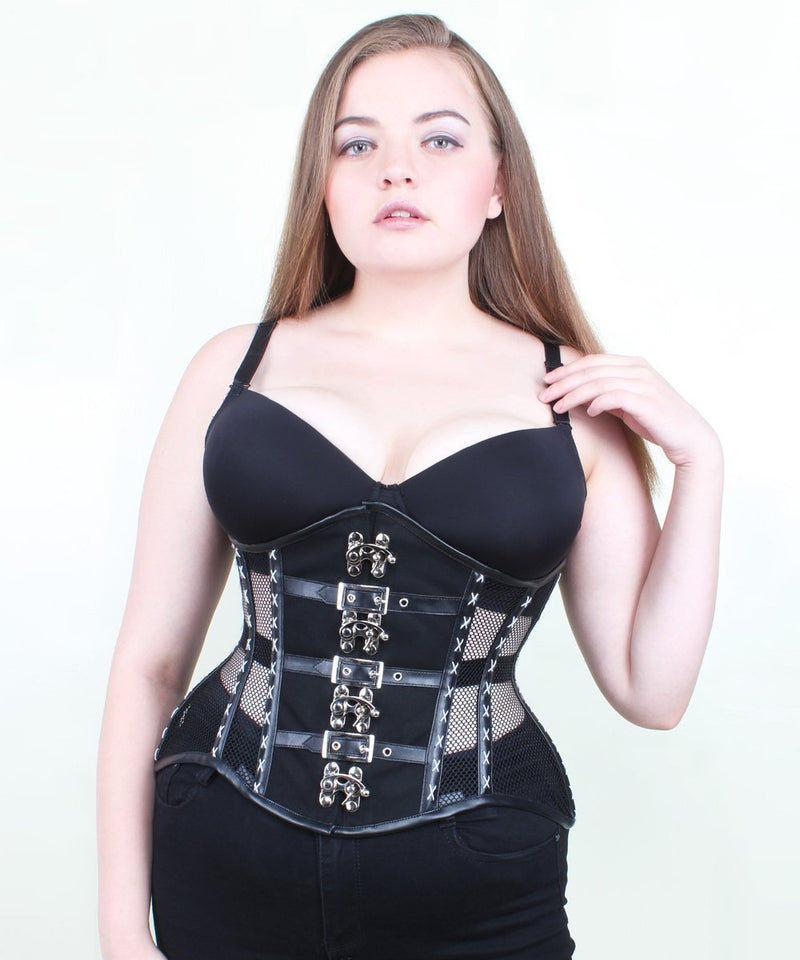 Jaclyn Black Mesh Curvy Corset with Clasp Opening