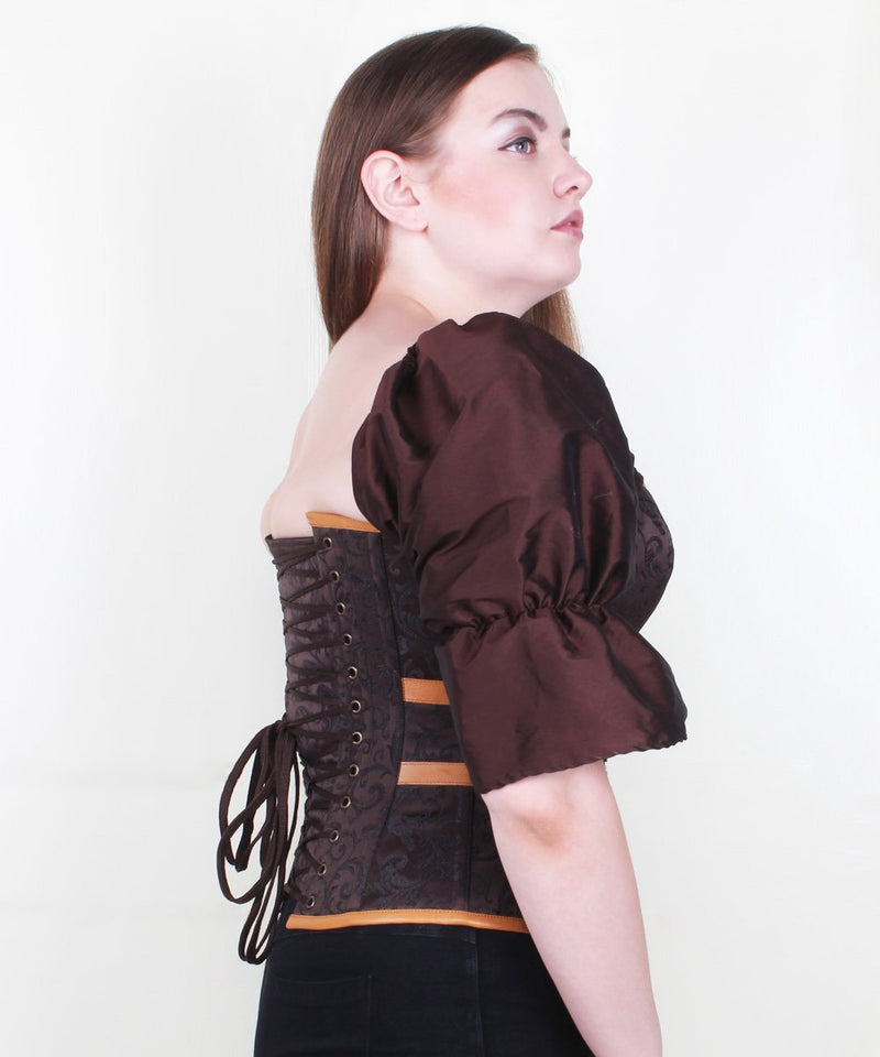 Aizah Overbust Brocade & Leather Steampunk Corset